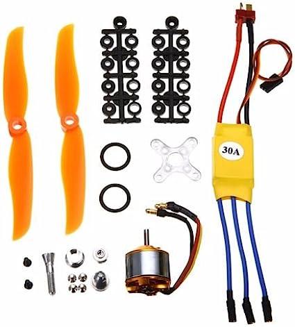 2212-6 2200KV Brushless Motor /& Propeller /& 30A ESC Kit For RC Helicopter Plane