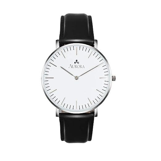 Aurora Womens Classic Analog Quartz Watch with Black Band (Silver)