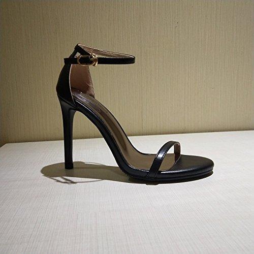 Hauts female Shoeshaoge Dew À Noir Fines Sandales Eu35 Talons Très Boucle Bien Avec De rnr7Xq