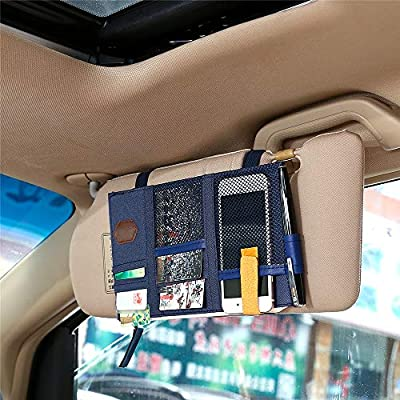 Lelance Car Visor Organizer Case, Multifunctional Auto Sun Visor Pocket Pouch with Zipper Cross-Border Visor Holder Organizer Bag for Pen, Mobile Phone, Bill, Note, Car, Document (Blue): Automotive