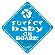 Surfer Baby on Board Car Safety Window Sticker Sign (Blue)