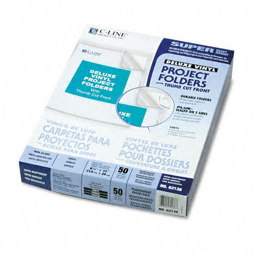 (C-Line : Deluxe Project Folders, Jacket, Letter, Vinyl, Clear, 50/bx -:- Sold as 2 Packs of - 50 - / - Total of 100 Each)