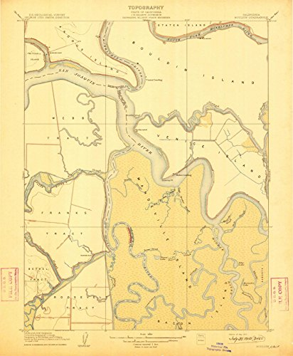 (California Maps | 1910 Bouldin, CA USGS Historical Topographic Map | Cartography Wall Art | 44in x 55in)