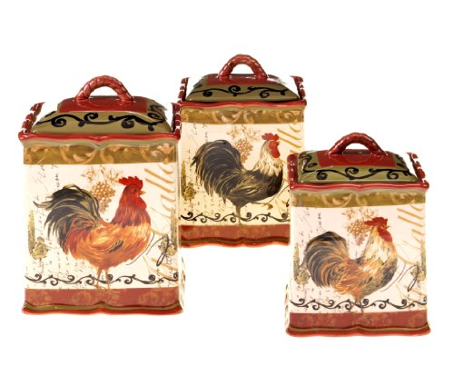 Certified International 63205 3 Piece Tuscan Rooster Canister Set, 72 oz/114 oz/144 oz, Multicolored