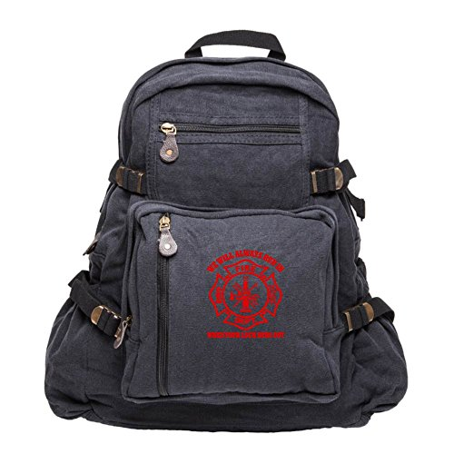 We Will Always Run in When Your Luck Has Run Out Sport Heavyweight Canvas Backpack Bag in Black & Red, Large -