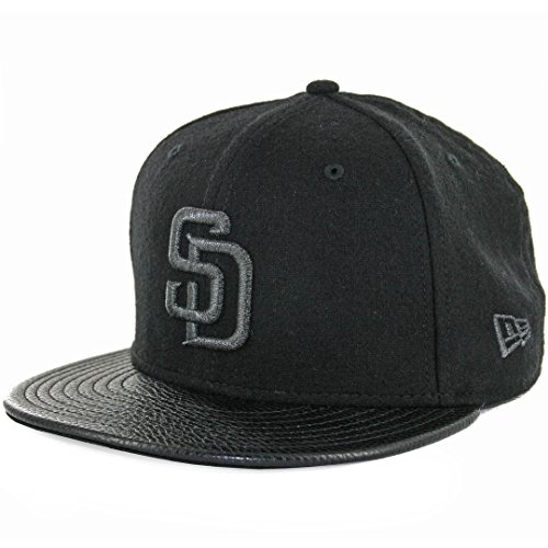 New Era 5950 San Diego Padres Fitted Hat (Black Melton/Pebble Leather) Men's (New Era Leather Cap)
