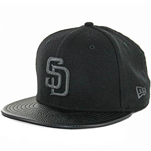 New Era 5950 San Diego Padres Fitted Hat (Black Melton/Pebble Leather) Men's (New Era Cap Leather Cap)