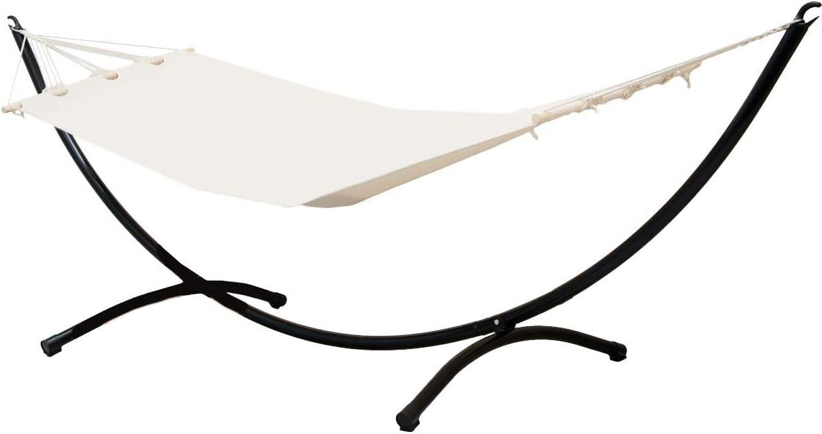 AMANKA Hamaca con Soporte | Conjunto Completo | Hamaca en Algodón Beige con un Robusto Soporte de Acero Negro | Superficie para tumbarse 190x80cm ca | Peso máx soportado 120 kg