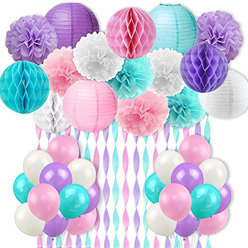 Mermaid Unicorn Party Decorations Pink Purple White Aqua Crepe Paper Mermaid Balloons Tissue Paper Pom Poms Lanterns for Girls Birthday Baby Shower 59 Pack -