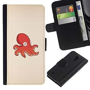 KLONGSHOP // Tirón de la caja Cartera de cuero con ranuras para tarjetas - Pulpo Calamar juguete - Samsung Galaxy S4 IV I9500 //