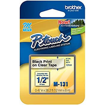 """Brother P-touch ~1/2"""" (0.47"""") Black on Clear Tape - 26.2 ft. (8m)"""