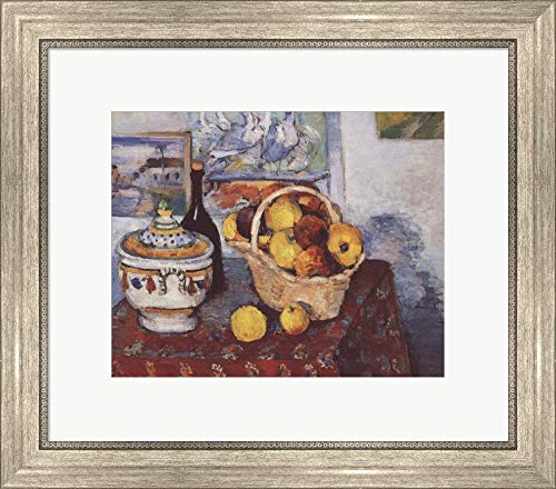 Still Life with Soup Tureen by Paul Cezanne Framed Art Print Wall Picture, Silver Scoop Frame, 20 x 18 inches