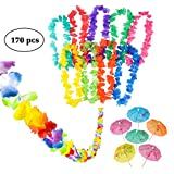 Neliblu Luau Party Supplies, Luau Bulk Party Pack Includes 1 9' Jumbo Flower Lei Garland; 144 Paper Hibiscus Parasol Umbrellas; 25 Jumbo 36'' Tropical Flower Leis