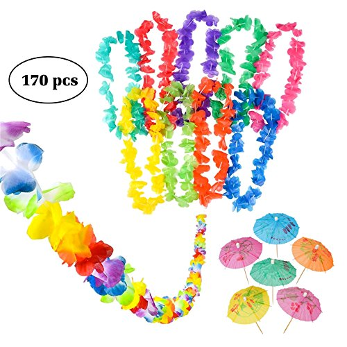 Luau Party Supplies, Luau Bulk Party Pack Includes 1 9' Jumbo Flower Lei Garland; 144 Paper Hibiscus Parasol Umbrellas; 25 Jumbo 36