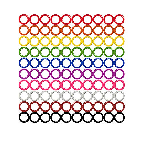 Colorful Iron O-Rings & Stitch Ring Markers for Knitting/Crochet/etc, (Available in 14 Sizes, Includes 10 Colors, for Knitting/Crochet/etc (Small (Internal Diameter 6mm), 100pcs)
