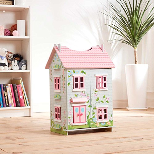 Teamson Kids 3 Level Floral Design Sweet Pea Cottage Floor/Tabletop Dollhouse + 7 Pieces of Wooden Furniture (3+ Years)