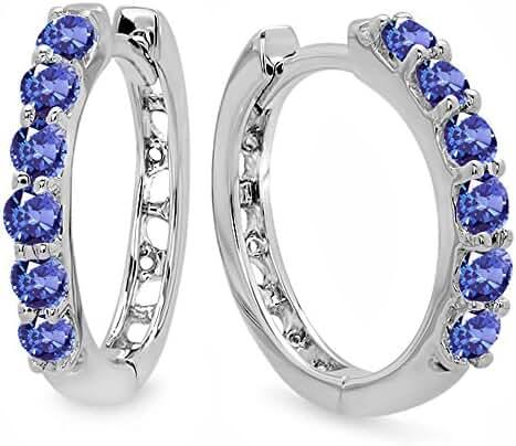 0.33 Carat (ctw) 14K White Gold Ladies Huggies Hoop Earrings 1/3 CT