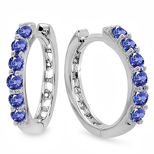 0.33 Carat (ctw) 14K White Gold Round Tanzanite Ladies Huggies Hoop Earrings 1/3 CT (Gold Tanzanite Ring Jewelry White)