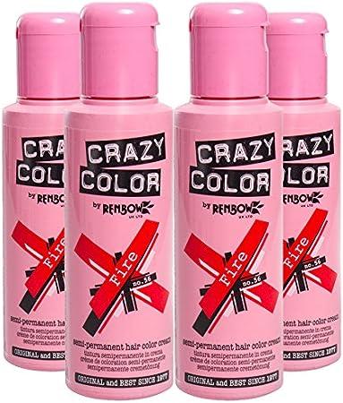 Pack 4x Tinte Capilar Semi-Permanente Crazy Color (Fire Red) + GRATIS Estuche Blue Banana Sugar Skull
