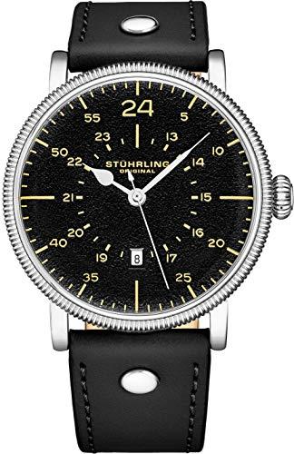 Stuhrling Original Mens Watch. Analog Quartz Military Wrist Watch. Genuine Calfskin Leather Strap, Black Dial, 24-Hour Watch. Aviator Watches for Men. 22mm Watch Band. A Smart Watch to wear.