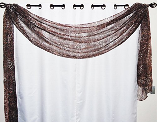 """Gorgeous Home 1 Decorative Leopard Brown Print Elegant Scarf Valance Sheer Voile Window Panel Curtain 216"""" long Swag Topper"""