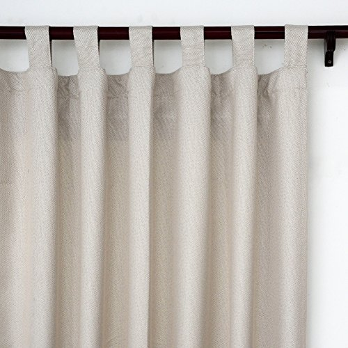 (Top Finel Linen Faux Curtains Drapes 84 Inches Long for Living Room Bedroom Tab Top Window Curtains, Cream)