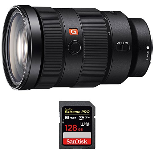 Sony (SEL2470GM FE 24-70mm F2.8 GM Full Frame E-Mount Lens w/Sandisk Extreme PRO SDXC 128GB UHS-1 Memory Card