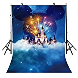 5x7Ft Disneyland Backdrop, Dreamy Cartoon Castle Backdrop, Children's Paradise Fireworks Castle and Cloud Backdrop for Pictures YouTube Backdrop VV1475