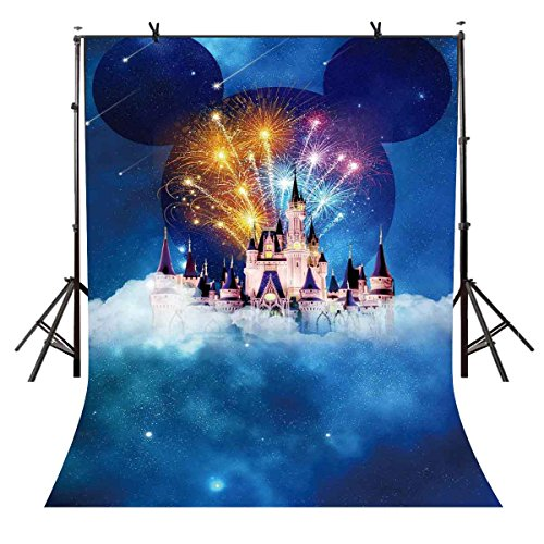 5x7ft Cloud Castle Backdrop Cartoon Characters Photography Background Birthday Photo Shoot Props Party Event Portrait Backdrop VVM VV1475 ()