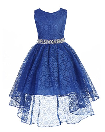 High Low Lace Dress Rhinestones Belt Pageant Flower Girl Dress Royal Blue Size ()