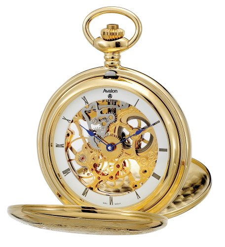 Avalon Imperiale Series 17-Jewel Hand-Wind Gold-Tone Skeleton Pocket Watch with Chain # 8800GX by Avalon