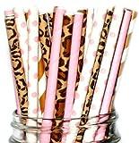 Animal Print Mix-leopard, Cheetah, Giraffe, Pink, Party Disposable Straws (50 Straws)