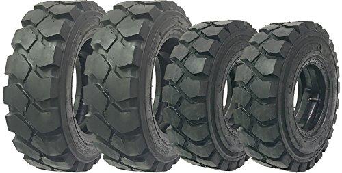 Set of 4 ZEEMAX 6.50-10 Steer & 28x9-15 (8.15-15) drive Forklift Tires w/Tube & Flap w/Rim Guard