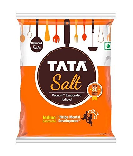 Tata Salt, 1 kg - (1000 grams pack) - 35.27 oz - India - Vacuum evaporated iodised salt - Vegetarian by Tata