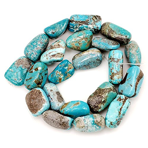 01 Blue Hubei Turquoise Nugget 15x13x10mm-20x14x8mm for Necklace Gemstone Loose Beads 15