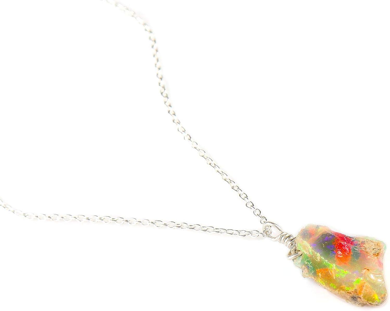 Collar de buena suerte, collar de ópalo crudo en cadena de plata esterlina 925 de 18
