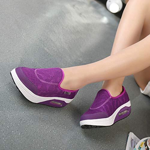 Zapatillas Deportivas Mujer Cinnamou Gimnasio Zapatillas en Zapatillas Morado Cordones sin Running Unisex qqUHZg