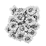 50 Roses Artificial Bridal Clips Wedding Decoration Flower Heads Silver
