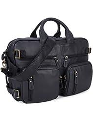 Men Multi-purpose Leather Business Work Bag 15/16/17 Laptop Bag, Backpack/ Briefcase/ Tote Shoulder Travel Luggage...