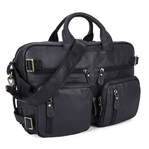 Men Multi-purpose Leather Travel Luggage Bag, Backpack/ Briefcase/ Tote 17'' Laptop Shoulder Bags (Black) by BAIGIO
