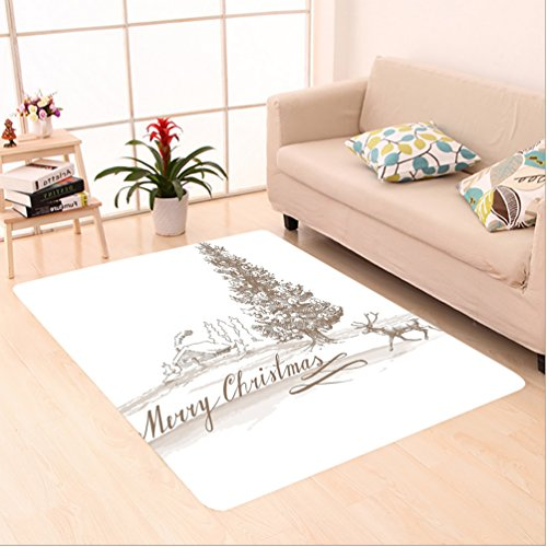 Nalahome Custom carpet ction Romantic Vintage Merry Christmas Scene with Reindeer Tree Star Holy Religious Design Brown area rugs for Living Dining Room Bedroom Hallway Office Carpet (5' X 7') by Nalahome