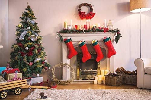 Yeele Christmas Photography Background 12x8ft Indoor Christmas Tree Sock Wool Carpet Burning Stove Candle Fireplace Hearth Merry Christmas Xmas Decoration Photo Backdrops Pictures Photoshoot -