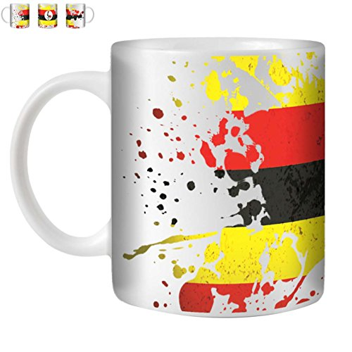 STUFF4 Tea/Coffee Mug/Cup 350ml/Uganda/World Flags Splat/White Ceramic/ST10