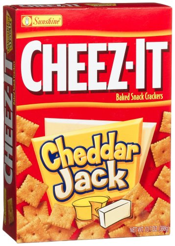 Cheez-It Baked Snack Crackers, Cheddar Jack, 13.7-Ounce Boxes (Pack of 4)