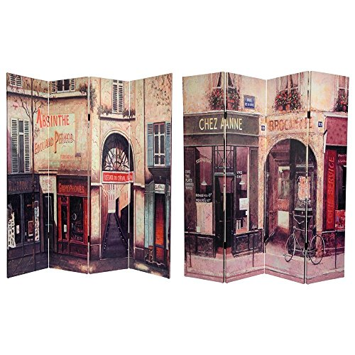 Day Framed Panel Print - Oriental Furniture 6 ft. Tall Double Sided French Cafe Canvas Room Divider