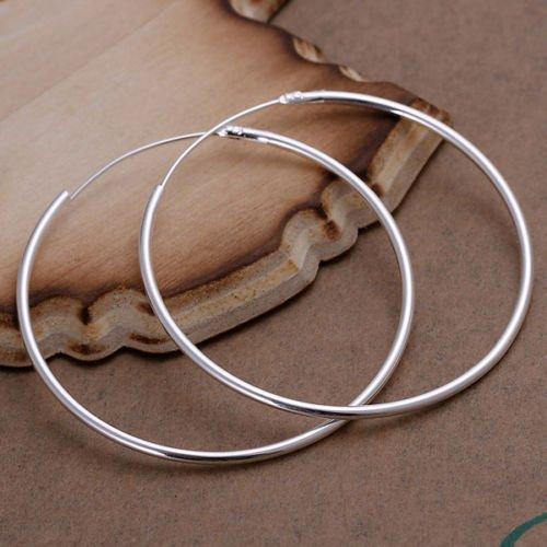 Honeshop Fashion 925 Sterling Silver Round Big Large Hoop Huggie Loop Earrings for Women (925 Sterling Silver Loop)