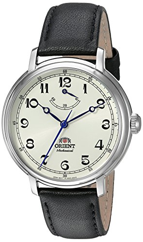 - Orient Men's 'Monarch' Mechanical Hand Wind Stainless Steel and Leather Dress Watch, Color Black (Model: FDD03003Y0)