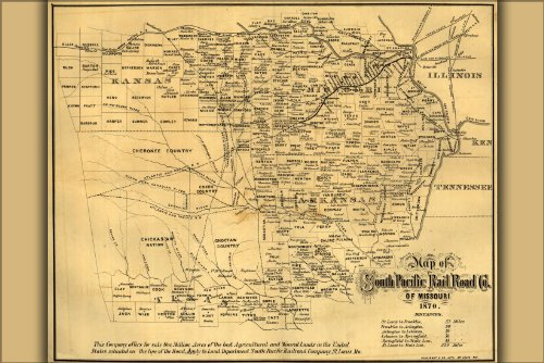 Poster Map Of South Pacific Railroad 1870 Arkansas Texas Antique Reprint