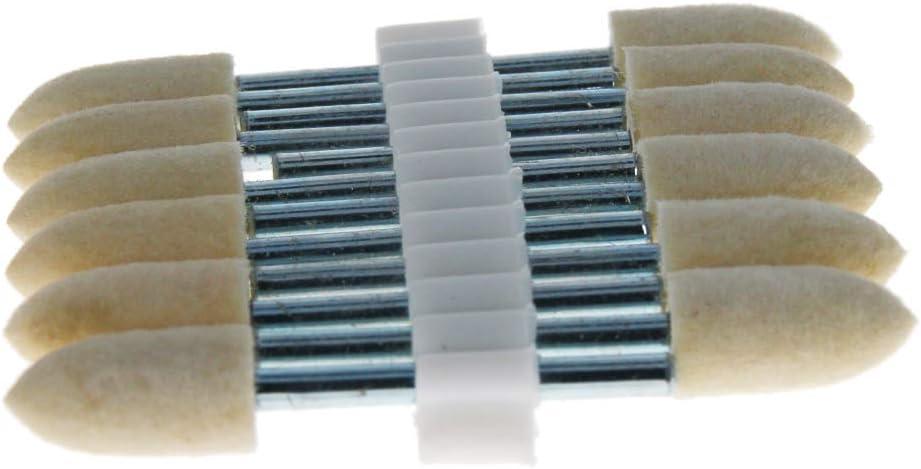 Utoolmart 3mm Wool Felt Mounted Points Peach-Pointed Polishing Bits Burrs Buffing Wheels Grinding 5 Pcs