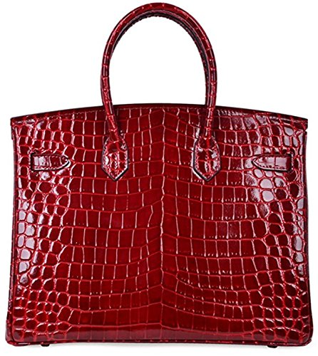 Bag Women Claret Handle Leather Top Handbags Crocodile Padlock advAw5xa